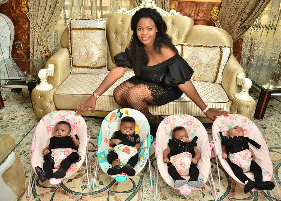 Nigerian Mother Of Twins Welcomes Quadruplets, Shares Beautiful Family Photos