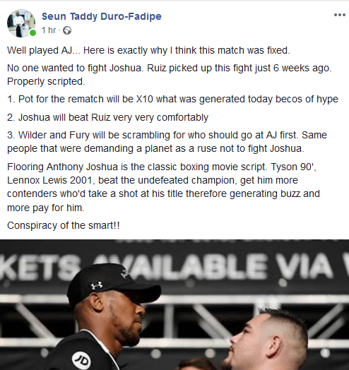 Was Anthony Joshua Loss Fixed? Nigerian Man Believes It