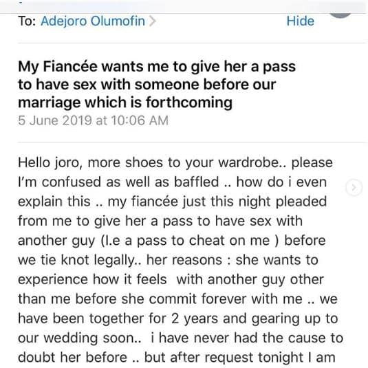 Before wedding cheats wife slept with