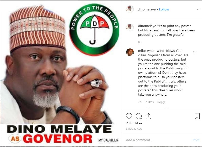 """Nigerians Have Been Printing Posters For Me, I've Not Done Any"""" - Dino Melaye"""
