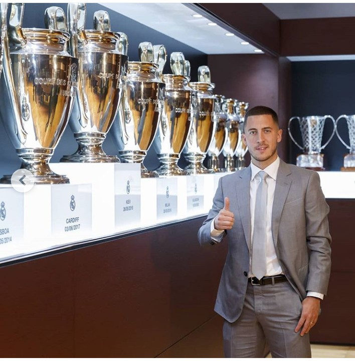 Eden Hazard Poses With Real Madrid Collection Of Trophies (photo)