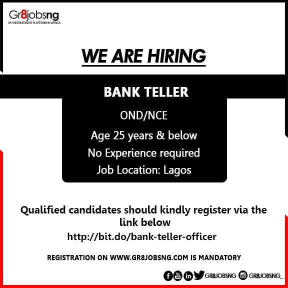 We Are Currently Hiring For The Position Of A Bank Teller