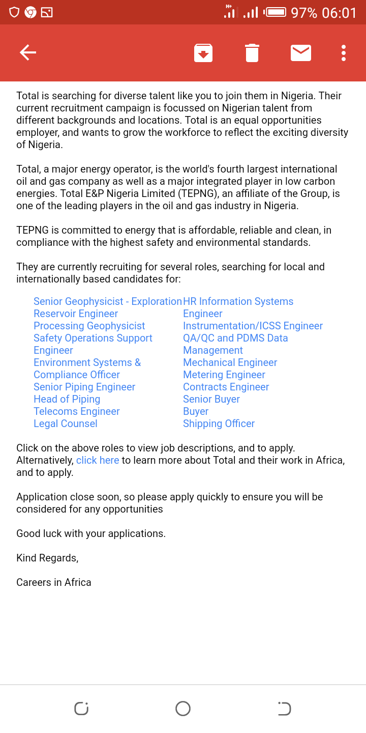 Total E&P Limited - 2019 Recruitment (many Positions) - Jobs