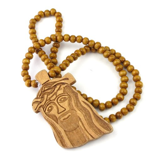 Original Wooden Jesus Piece Necklace For Sale Technology Market