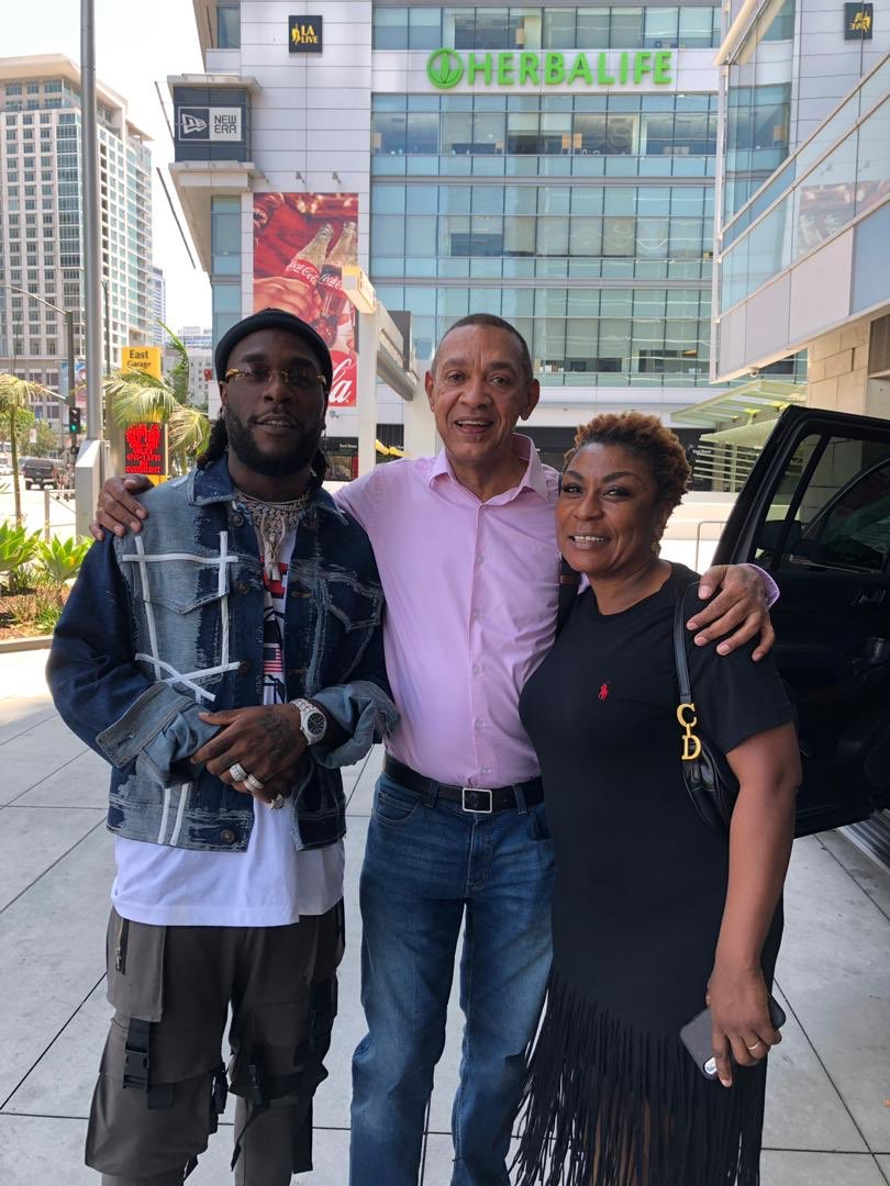 Sen. Ben Bruce spotted with Burna Boy and his mum at the #BETAwards2019 in US 1