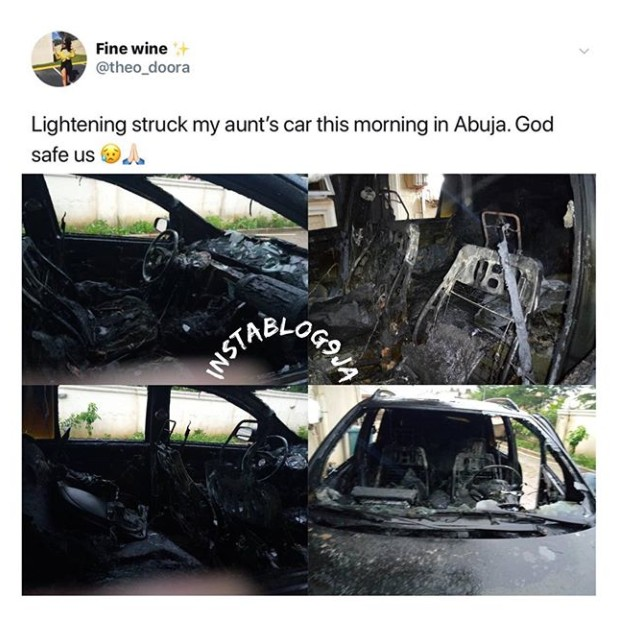 Photos: See What Thunder Did To A Lady's Car In Abuja 9
