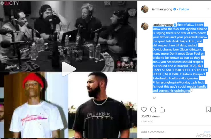 Harrysong Slams American Djs Who Said Wizkid Is Nobody Without Drake 2