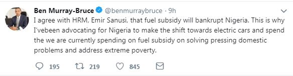 Ben Murray Bruce Agrees With Emir Sanusi That Subsidy Will Bankrupt Nigeria 1