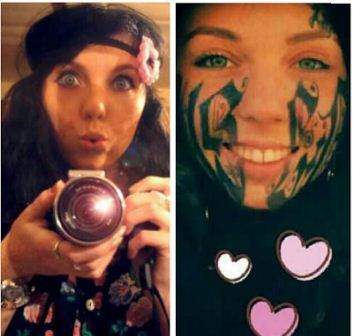 Girl tattoos boyfriends name on her face