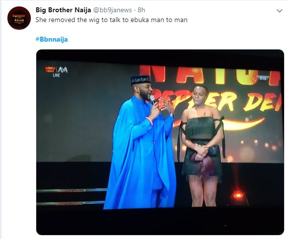 #bbnaija: Emotional Isilomo Removed Her Wig On Stage When Talking To Ebuka