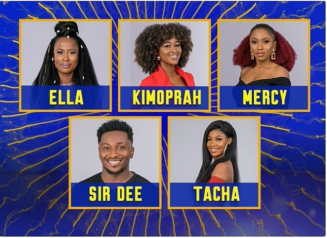 Image result for BBNaija -Housemates Tacha, Sir Dee, Mercy, Ella And Kimoprah Up For Eviction.