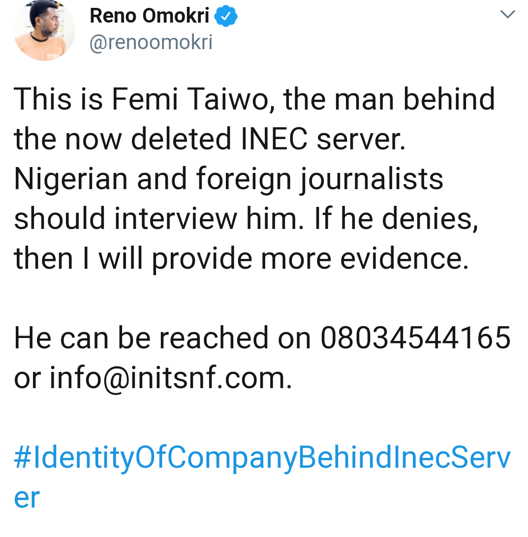 Femi Taiwo Responds To Reno Omokri's Allegation About Election Results Server