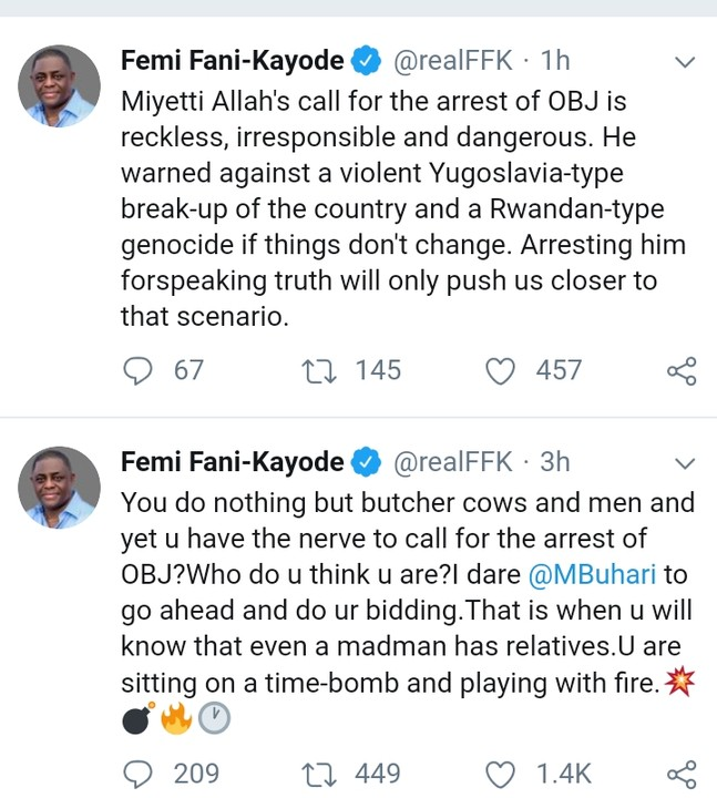 "You Are Playing With Fire"" – FFK Tells Herdsmen, Dares Buhari To Arrest OBJ"
