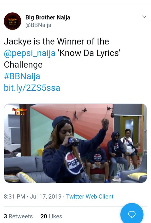 "BBNaija2019: Jackie Wins 1.5 Million Naira ""Pepsi Lyrics Challenge"" 2"