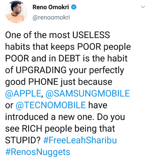 """""""Never Give Money To Someone Who Uses Better Phone Than You"""" – Reno Omokri 2"""