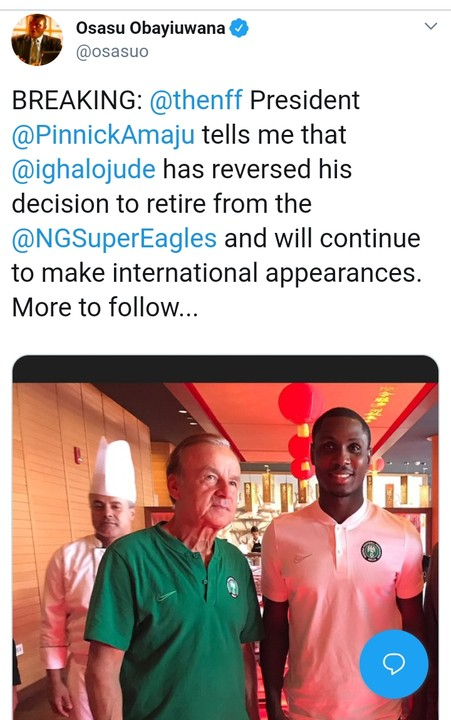 Image result for Ighalo reverse decision to quit Super Eagles