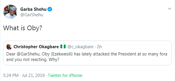 "Buhari Aide, Garba Shehu Mocks Oby Ezekwesili Asked ""What Is Oby?"""