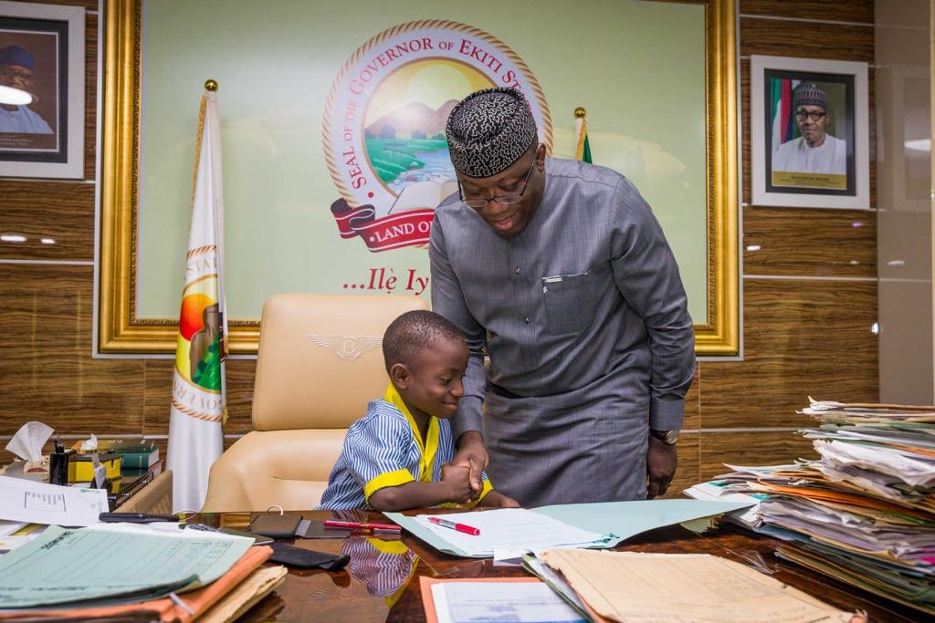 Image result for 7-Year-Old Daniel Olutope Is Ekiti Governor For One Day As Fayemi Steps Aside