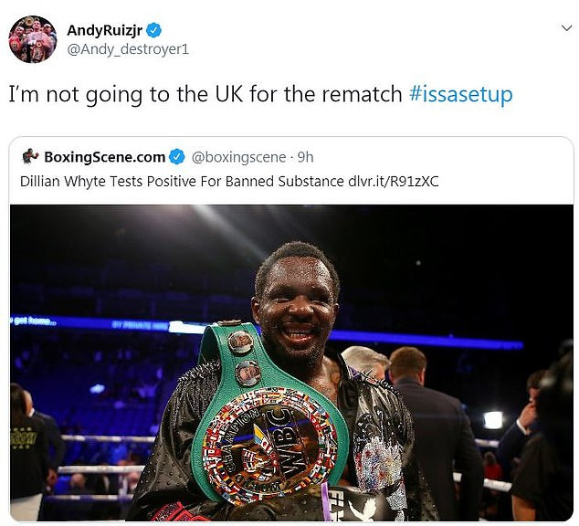 Andy Ruiz Jr Rules Out Rematch With Anthony Joshua in UK; Says It's A Trap