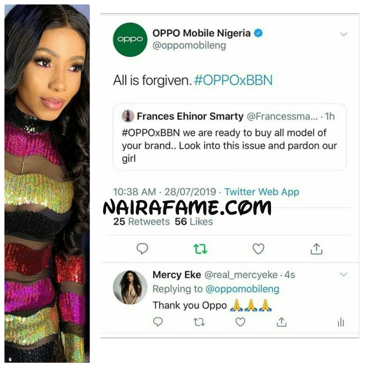 BBNaija: OPPO Forgives Mercy For Smashing Their Product on The Floor (Pics)