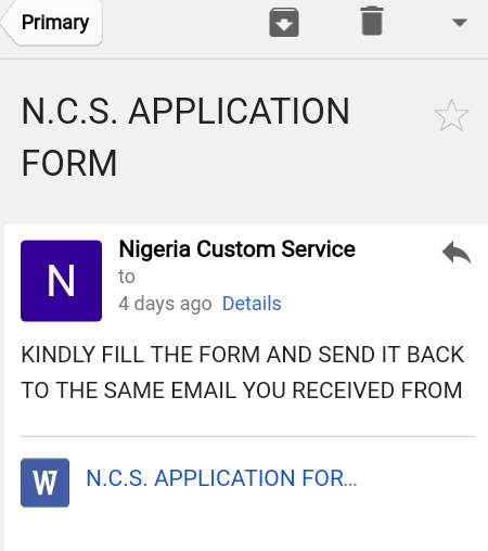 Nigeria Custom Service Invitation Letter For Interview Real? (photos